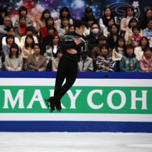 Nathan Chen jumps during his free skate
