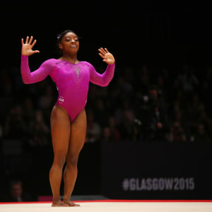 Simone Biles on floor during the apparatus final at the 2015 Worlds