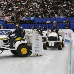 An ice resurfacer at the World Figure Skating Championships