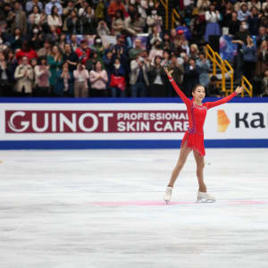 Elizabet Tursynbaeva acknowledges the crowd after her free skate at the World Championships