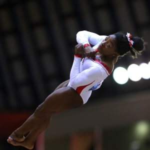 Simone Biles vaults during the apparatus final at the 2018 Worlds