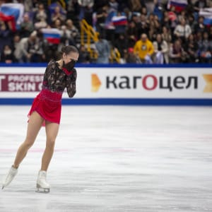 Alina Zagitova reacts after her gold medal free skate at the World Championships