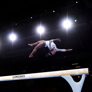 Simone Biles on the balance beam during the all-around at the 2019 World Artistic Gymnastics Championships