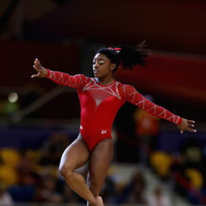 Simone Biles performs on floor during the apparatus final at the 2018 Worlds