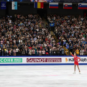Elizabet Tursynbaeva concludes her free skate at the World Championships