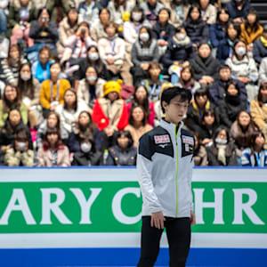 Yuzuru Hanyu prepares for practice