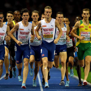 Brothers Henrik, Jakob, and Filip Ingebrigsten of Norway lead the group as they compete in the Men's 1500m Final during day four of the 24th European Athletics Championships. (Photo by Matthias Hangst/Getty Images)