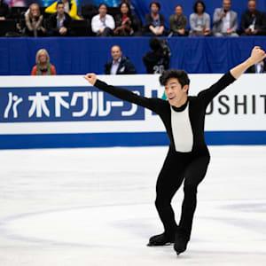 Nathan Chen performing during his short program at 2019 Worlds