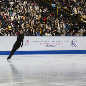Yuzuru Hanyu at practice on Tuesday evening.