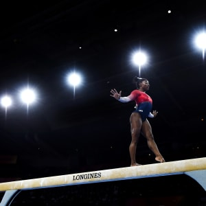 Simone Biles on the balance beam in the women's team final at the 2019 World Artistic Gymnastics Championships