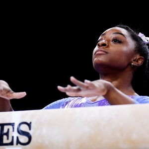 Simone Biles prepares to start her routine in the balance beam final at the 2019 World Artistic Gymnastics Championships