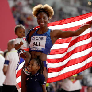 Nia Ali of the United States celebrates winning gold in the Women's 100 metres hurdles final during day ten of 17th IAAF World Athletics Championships Doha 2019 at Khalifa International Stadium on October 06, 2019 in Doha, Qatar. (Photo by Maja Hitij/Getty Images)