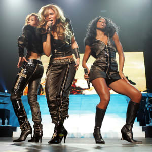 Singers Michelle Williams, Beyonce Knowles and Kelly Rowland of Destiny's Child perform at the Budokan martial arts hall in 2005.