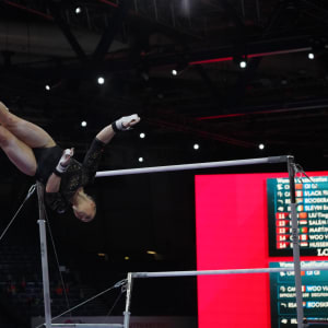 Ellie Black (CAN) on the uneven bars at the 2019 World Gymnastics Championships