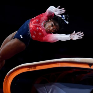 Simone Biles on the vault in the women's team final at the 2019 World Artistic Gymnastics Championships
