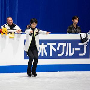 Yuzuru Hanyu in practice on Wednesday