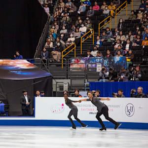 Vanessa James and Morgan Cipres perform their free program