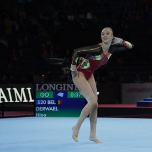 Nina Derwael performing on floor at the 2019 World Championships (Photo: Olympic Channel)