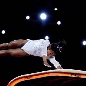 Simone Biles on the vault in the all-around at the 2019 World Artistic Gymnastics Championships