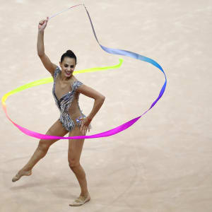Linoy Ashram competing in the ribbon at the European Games in Minsk