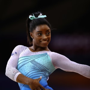 Simone Biles poses on the floor exercise during the all-around final at the 2018 Worlds