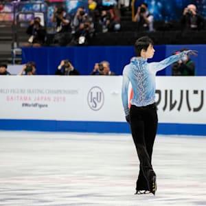 Yuzuru Hanyu during his short program at the 2019 Worlds