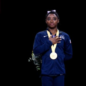 Simone Biles with her gold medal for winning the floor final at the 2019 World Artistic Gymnastics Championships