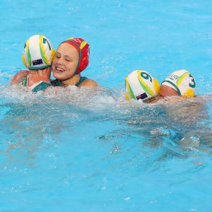 The Australian players celebrate their Women's Water Polo Bronze Medal match victory against Hungary on day 14 of the Gwangju 2019 FINA World Championships at Nambu University on July 26, 2019 in Gwangju, South Korea. (Photo by Maddie Meyer/Getty Images)