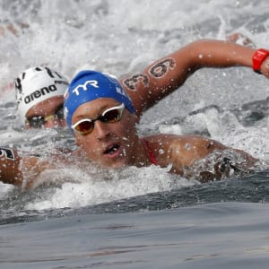 18th FINA World Swimming Championships - Men's 10km Open Water Final - Yeosu EXPO Ocean Park, Yeosu, South Korea - July 16, 2019. Marc-Antoine Olivier of France competes. REUTERS/Evgenia Novozhenina