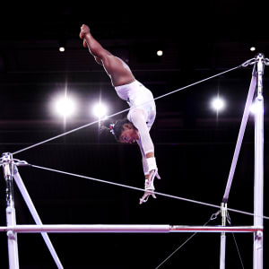 Simone Biles on the uneven bars during the all-around at the 2019 World Artistic Gymnastics Championships