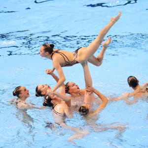 Team Ukraine competes in the Free Combination preliminary round day seven of the Gwangju 2019 FINA World Championships at Yeomju Gymnasium on July 18, 2019 in Gwangju, South Korea. (Photo by Catherine Ivill/Getty Images)