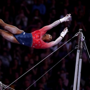 Simone Biles on the uneven bars in the women's team final at the 2019 World Artistic Gymnastics Championships