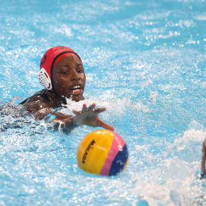 Ashleigh Johnson #13 of the United States saves a shot attempt by Spain during the Women's Water Polo Gold Medal match on day 14 of the Gwangju 2019 FINA World Championships at Nambu University on July 26, 2019 in Gwangju, South Korea. (Photo by Catherine Ivill/Getty Images)