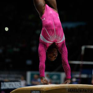 Simone Biles vaults during the 2013 World Championships