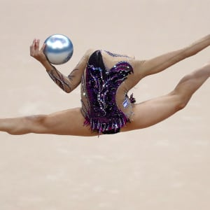 Linoy Ashram on her way to gold in the ball at the European Games in Minsk