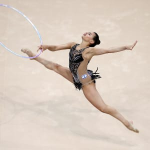 Linoy Ashram competing in the hoop at the European Games in Minsk