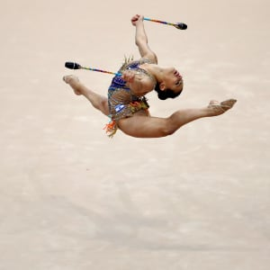 Linoy Ashram competing in the clubs at the European Games in Minsk
