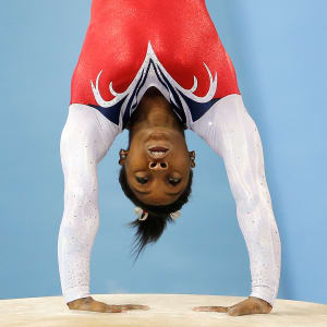 Simone Biles vaulting during the apparatus final at the 2014 Worlds