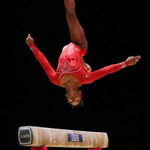 Simone Biles on balance beam during the team final at the 2015 Worlds