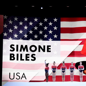 Simone Biles introduced with her USA colleagues before the women's team final
