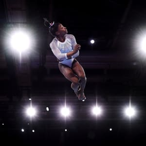 Simone Biles during her floor routine in the all-around at the 2019 World Artistic Gymnastics Championships
