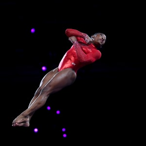 Simone Biles during the vault final at the 2019 World Artistic Gymnastics Championships