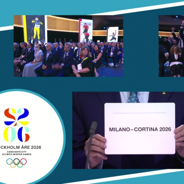Momento en el que los Juegos de Invierno se dieron a Milán-Cortina d'Ampezzo