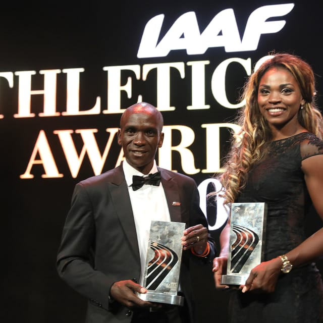 Eliud Kipchoge and Caterine Ibarguen named athletes of the year at IAAF Athletics Awards in Monaco