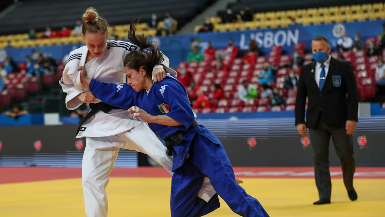 Bilodid se enfrenta a Francesca Milani en el Campeonato de Europa de judo 2021 CRÉDITO: Unión Europea de Judo, Carlos Ferreira