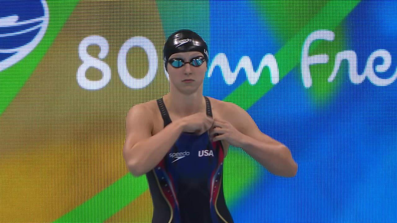 Ledecky breaks own world record to take 800m gold