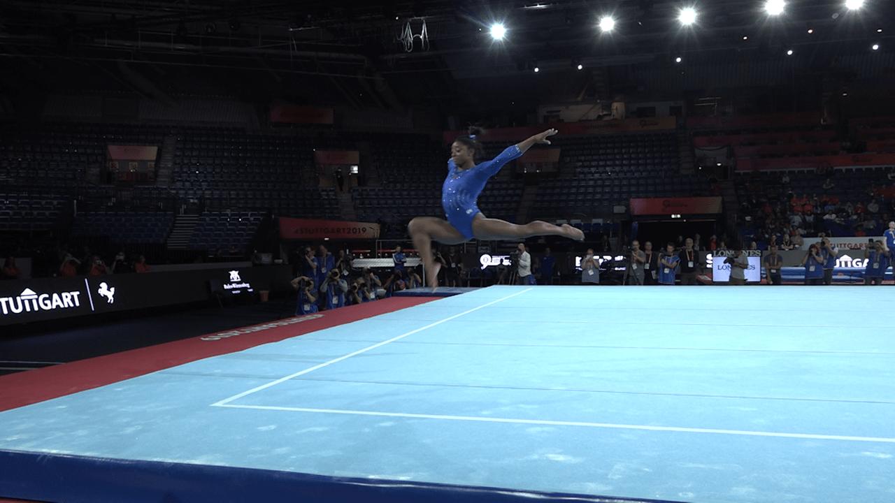 WATCH: Simone Biles performs floor exercise routine in podium training
