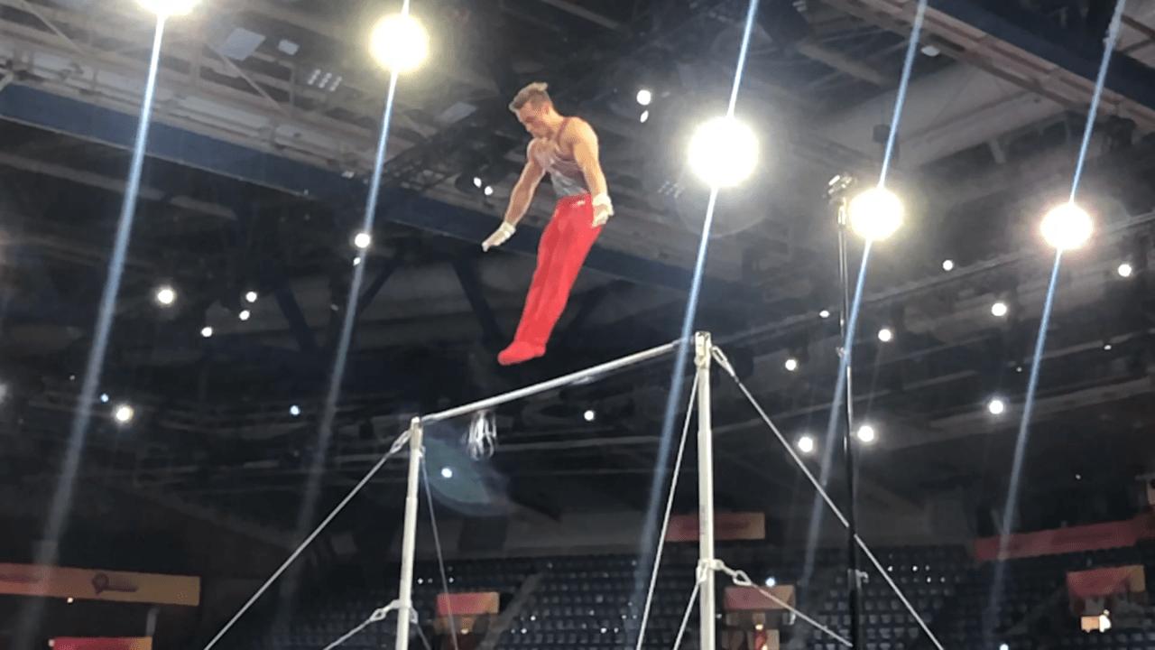 Watch Sam Mikulak on high bar in podium training