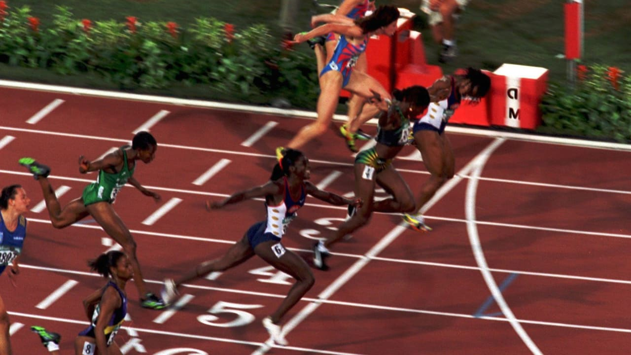 アトランタ1996女子100m決勝、ディバースがオッティに競り勝つ