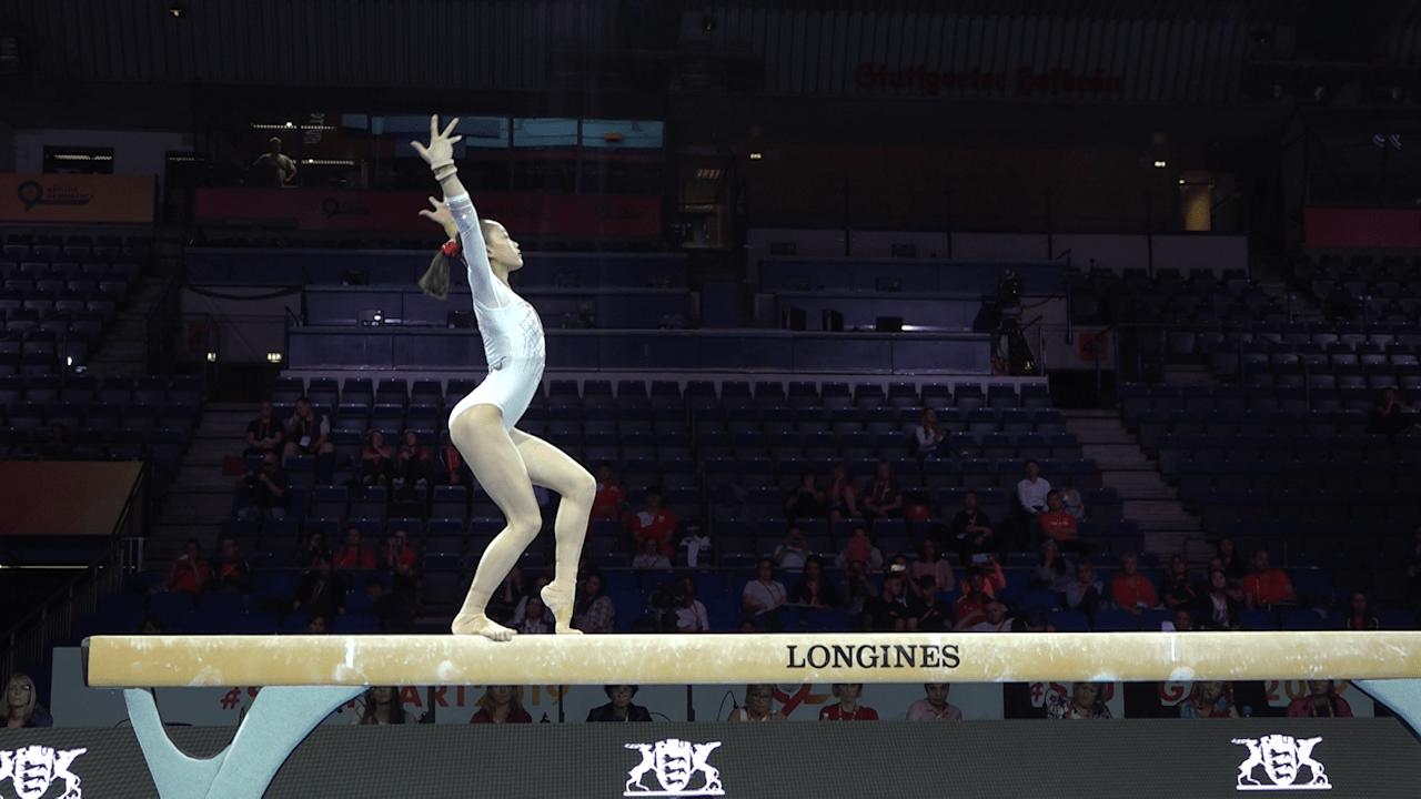 Chen Yile balance beam routine in podium training